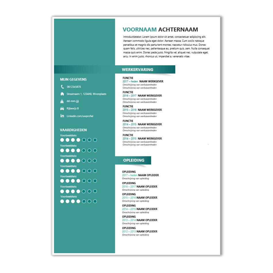 origineel cv in word Download CV voorbeeld 39   CV template   CV voorbeelden.nl