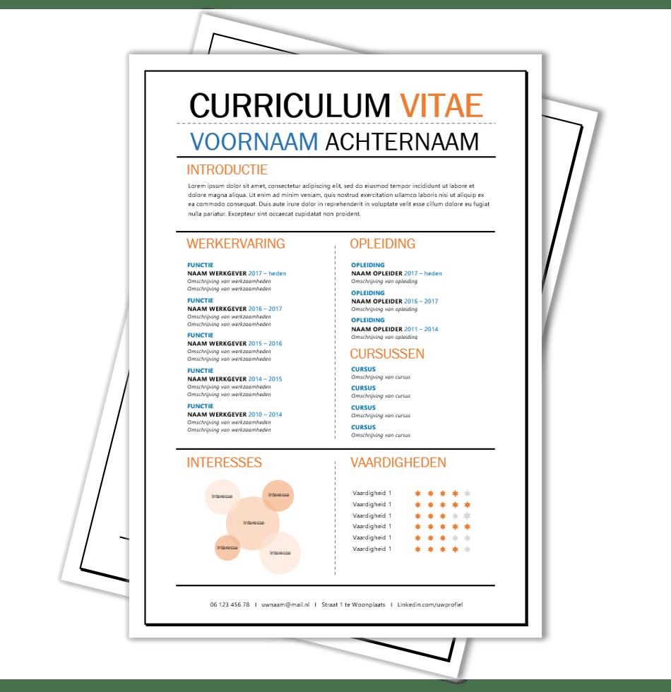 cv opmaak word Creatief CV opmaak template Word | CV voorbeelden.nl